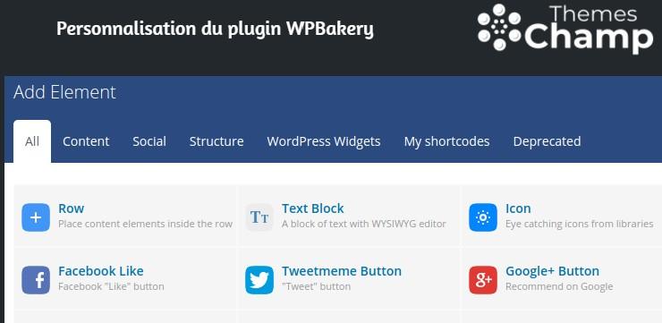 Ajout d'élément par WPBakery Page Builder