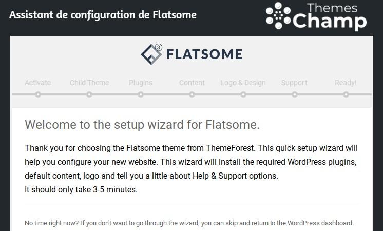 Assistant de configuration de Flatsome