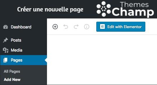 Créer une nouvelle page avec elementor pro