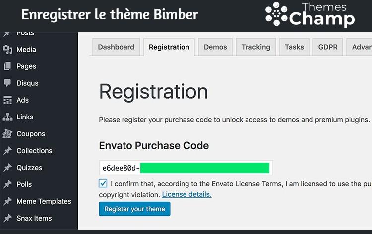 Enregistrer le thème Bimber
