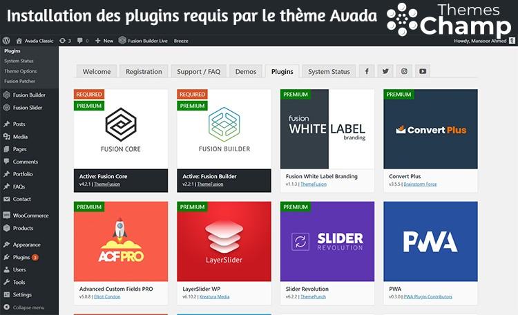 Installation des plugins requis par le thème Avada