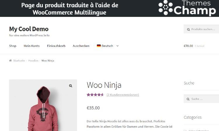 Page du produit traduite à l'aide de WooCommerce Multilingue