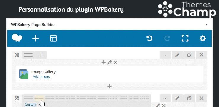 création des colonnes avec WPBakery Page Builder