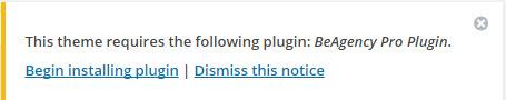 installer les plugins requis pour BeTheme
