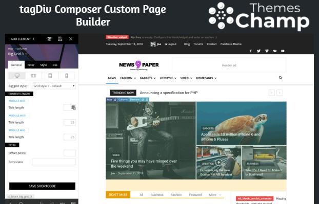 Démonstration du plugin tagDiv Composer Custom Page Builder