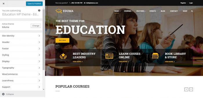 personnalisation du thème Eduma